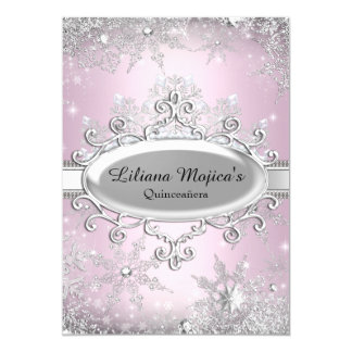 Light Pink Crystal Snowflake Princess Quinceanera Card