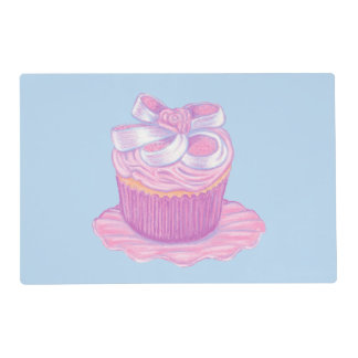 Light Pink Cupcake on Plate Placemat