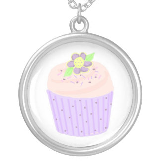 Light Pink Cupcake Silver Plated Necklace