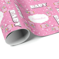 Light Pink Cute Baby Polka Dot Owls Wrapping Paper