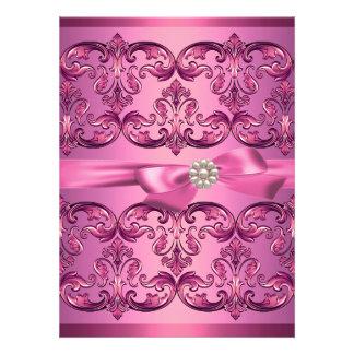 Light Pink Damask Bow Sweet16 Birthday Invite