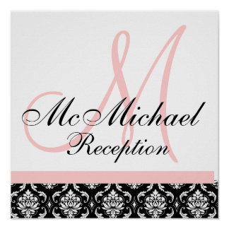 Light Pink Damask  Monogram Wedding Reception Posters