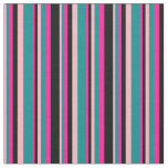 [ Thumbnail: Light Pink, Dark Cyan, Deep Pink, and Black Lines Fabric ]