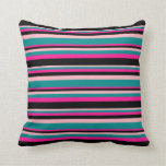 [ Thumbnail: Light Pink, Dark Cyan, Deep Pink, and Black Lines Throw Pillow ]