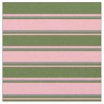 [ Thumbnail: Light Pink, Dark Olive Green & Grey Lined Pattern Fabric ]