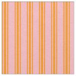 [ Thumbnail: Light Pink & Dark Orange Colored Stripes Fabric ]