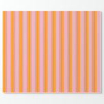 [ Thumbnail: Light Pink & Dark Orange Colored Stripes Wrapping Paper ]