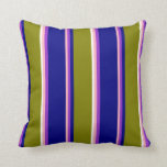 [ Thumbnail: Light Pink, Dark Orchid, Blue, Green & White Throw Pillow ]