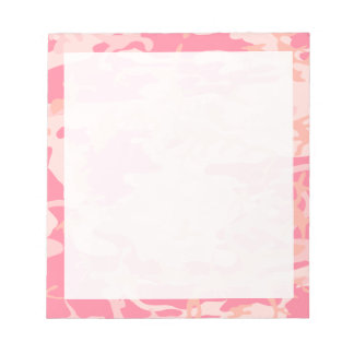 Light Pink Dark Pink and Peach Camo Camouflage Notepad