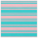 [ Thumbnail: Light Pink & Dark Turquoise Striped/Lined Pattern Fabric ]