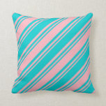 [ Thumbnail: Light Pink & Dark Turquoise Striped/Lined Pattern Throw Pillow ]