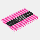 [ Thumbnail: Light Pink & Deep Pink Stripes 16th Birthday Party Guest Book ]