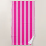 [ Thumbnail: Light Pink & Deep Pink Stripes Beach Towel ]