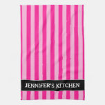 [ Thumbnail: Light Pink & Deep Pink Stripes + Custom Name Kitchen Towel ]