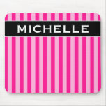 [ Thumbnail: Light Pink & Deep Pink Stripes + Custom Name Mouse Pad ]