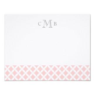 Light Pink Diamonds Wedding Monogram Stationery Card