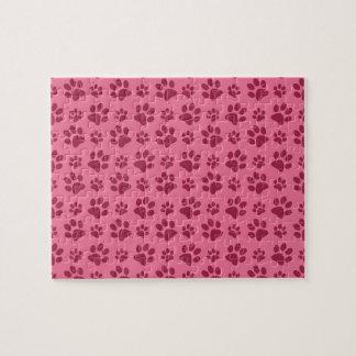 Light pink dog paw print pattern jigsaw puzzle