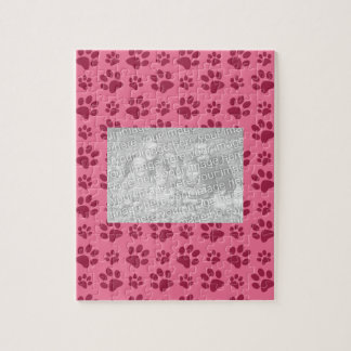 Light pink dog paw print pattern puzzle