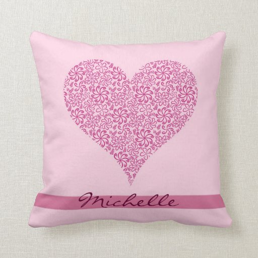 Light Pink floral heart with a name Throw Pillows