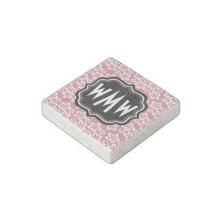 Light Pink Floral Pattern Black Custom Monogram Stone Magnet