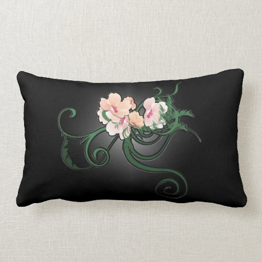 Light Pink Flower Illustration on Black Throw Pillows Zazzle