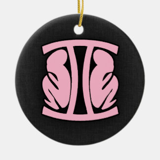 Light Pink Gemini Double-Sided Ceramic Round Christmas Ornament