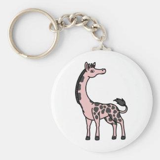 Light Pink Giraffe with Black Spots Keychain