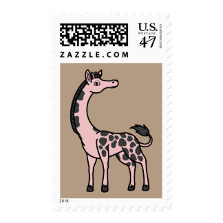 Light Pink Giraffe with Black Spots Postage