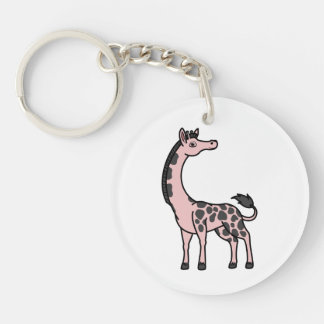 Light Pink Giraffe with Black Spots Single-Sided Round Acrylic Keychain