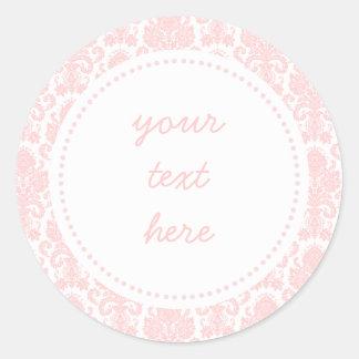 Light Pink Girly Damask Label Classic Round Sticker