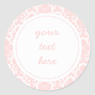 Light Pink Girly Damask Label Round Sticker