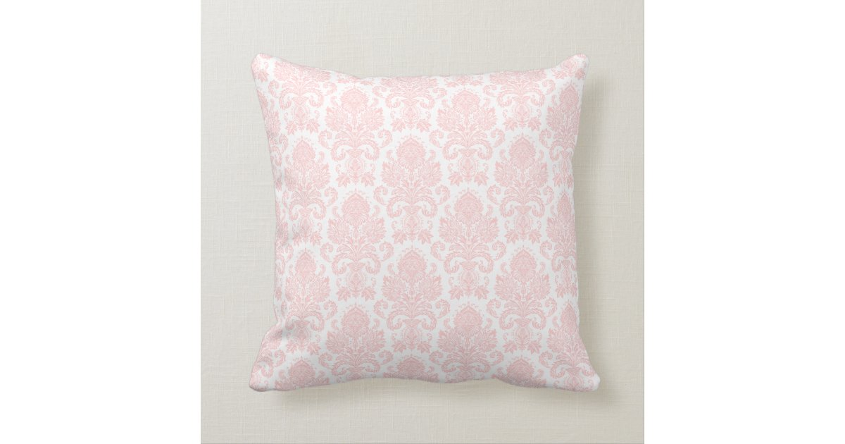 Light Pink Ruffle Throw Pillow : Light Pink Girly Damask Throw Pillow Zazzle
