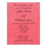 "Light pink glitter wedding invitations 4.25"" x 5.5"" invitation card"