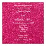 "Light pink glitter wedding invitations 5.25"" square invitation card"