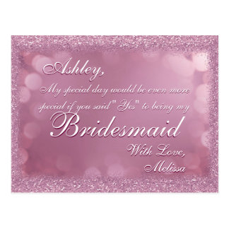 Light Pink Glitter - Will You Be My Bridesmaid? Postcard