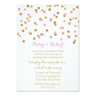 Light Pink Gold Confetti Vow Renewal Invitation