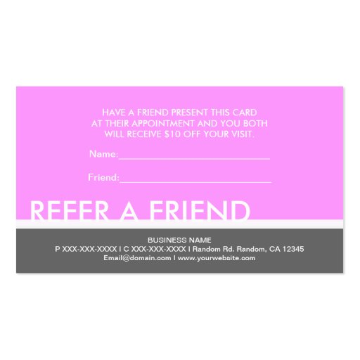 Refer a friend business card templates page2 bizcardstudio light pink gray simple refer a friend cards business card colourmoves