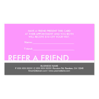 Light pink gray simple refer a friend cards Double-Sided standard business cards (Pack of 100)