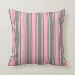 [ Thumbnail: Light Pink & Gray Stripes Throw Pillow ]