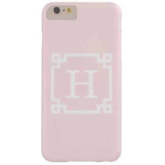 Light Pink Greek Key Frame #2 Initial Monogram Barely There iPhone 6 Plus Case