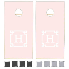 Light Pink Greek Key Frame #2 Initial Monogram Cornhole Sets