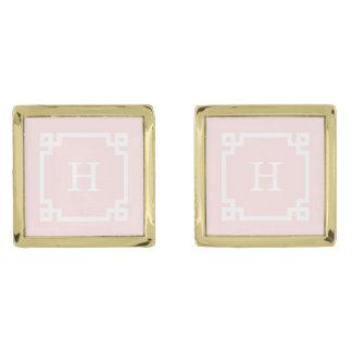 Light Pink Greek Key Frame #2 Initial Monogram Cufflinks