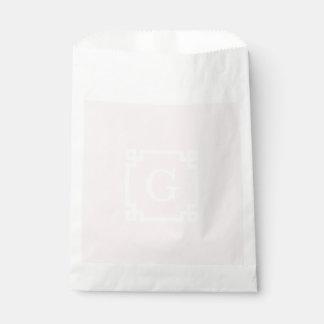 Light Pink Greek Key Frame #2 Initial Monogram Favor Bag