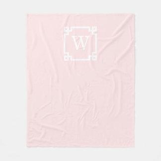 Light Pink Greek Key Frame #2 Initial Monogram Fleece Blanket