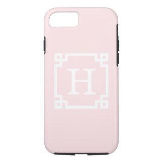 Light Pink Greek Key Frame #2 Initial Monogram iPhone 7 Case