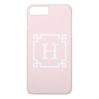 Light Pink Greek Key Frame #2 Initial Monogram iPhone 7 Plus Case