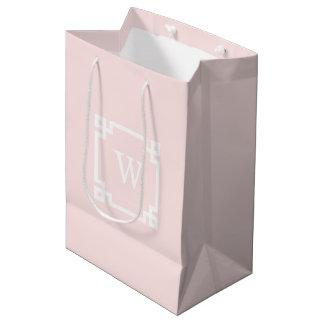 Light Pink Greek Key Frame #2 Initial Monogram Medium Gift Bag