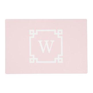 Light Pink Greek Key Frame #2 Initial Monogram Placemat