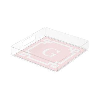 Light Pink Greek Key Frame #2 Initial Monogram Serving Tray