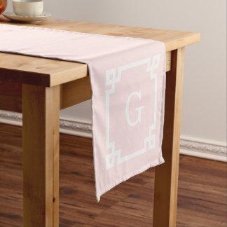 Light Pink Greek Key Frame #2 Initial Monogram Short Table Runner
